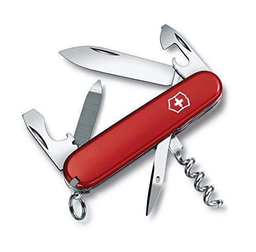 Victorinox Sportsman Couteau de Poche Suisse, Léger, Multitool, 13 Fonctions, Grand Lame, Ouvre Boite, Tire Bouchon, Rouge