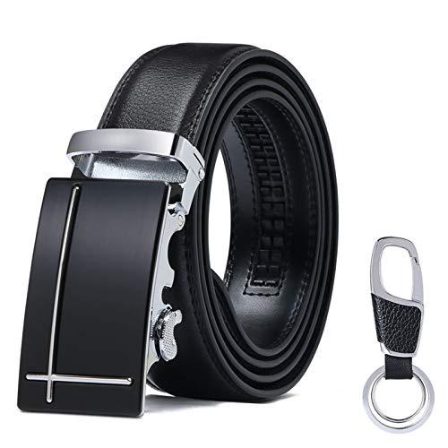 flintronic ® Cintura da Uomo in Pelle con Fibbia Automatica, Moda Cintura a Cricchetto 3.5cm * 130cm, con Portachiavi e Confezione Regalo