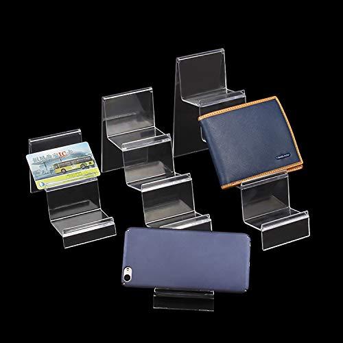 WeZest 2er-Pack Geldbörsen-Ständer aus Acryl, transparenter Kunststoff, für Handtaschen, Geldbörse, Präsentationsständer (2 Ebenen), 2 Ablagefächer