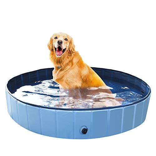 Founten Piscina para Perros - Bañera Plegable para Mascotas, Piscina Grande Resistente y Estable, PVC Antideslizante, Múltiples Usos para Mascotas y Niños φ160*30cm