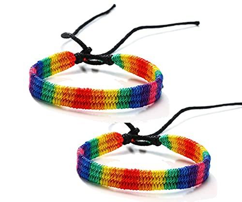 Pulsera de macramé trenzada de orgullo gay y lesbiano LGBT de varios estilos a granel arco iris Pride Parade accesorio pulsera hecha a mano joyería del orgullo para hombres y mujeres