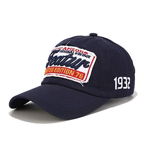 WAZHX Letras Antiguas Sombreros De Béisbol Hombres Y Mujeres Algodón Puro Sombreros para El Sol Al Aire Libre Marea Verano Ocio Deportes Gorras Marea Ajustable Azul Marino