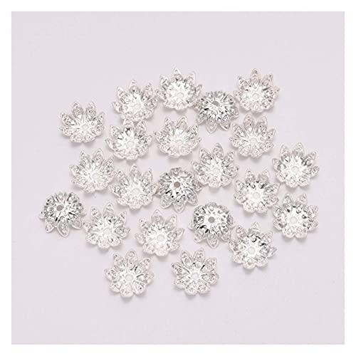 CHUNMA 100 unids/Lote 8 10 mm Lotus Flower Metal Poja Spacer Bead Caps Cone End Beads Cap Filigree for DIY Joyería Encontrar la fabricación (Color : Silver, Size : 10mm)