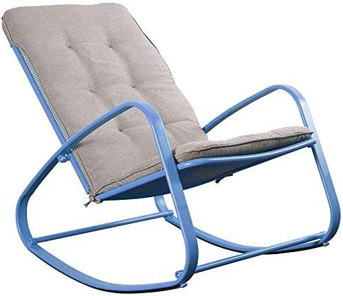 Outdoor Rocking Chairs (2021 New) Metal Patio Rocker Lawn Chair Porch Furniture Wide Ergonomic High Back Supportive Fold Reclining Glider with Removable Padded Cushion for Balcony Yard Deck (Blue)