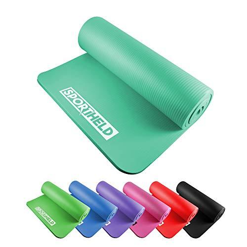 Sportheld® Profi Yoga-Matte   TÜRKIS   182 x 60 x 1,5 cm dick   rutschfest & gelenkschonend mit Gurt   Pilates   Gymnastik   Sport   BPA-frei