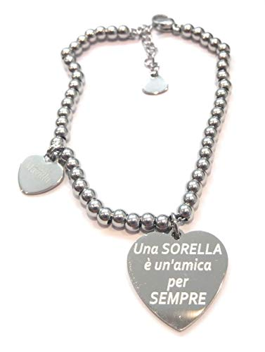 Bracciale donna in acciaio con scritta Una sorella è unamica per sempre.Made in Italy. bracciale in acciaio emozionale - frasi, pensieri, parole con charms - ciondolo pendente - misura regolabile