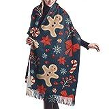 Sciarpa, scialle & avvolgere Natale pan di zenzero inverno caldo sciarpa pashmina scialle avvolgere per donne e uomini lunghi grandi sciarpe morbide