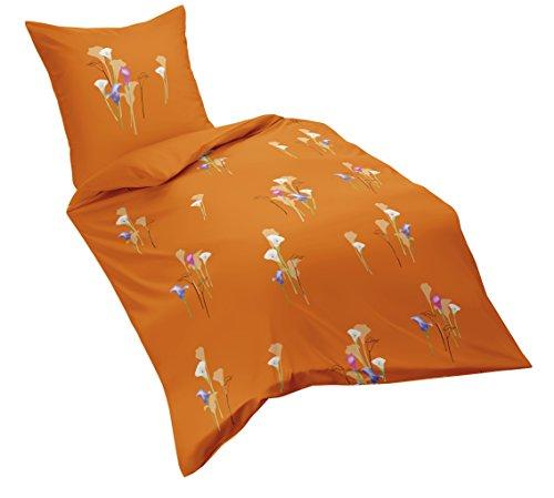 fleuresse 113568, Fb. 3 Mako-Satin-Bettwäsche, 135 x 200 cm, orange