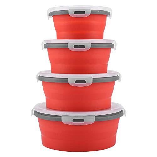 Opvouwbare lunchbox, 4 stuks/set Ronde siliconen kluis Duurzame Opvouwbare lunchbox voor studenten Witte kraag, blauwe kraag, bento schaaltjes (rood)