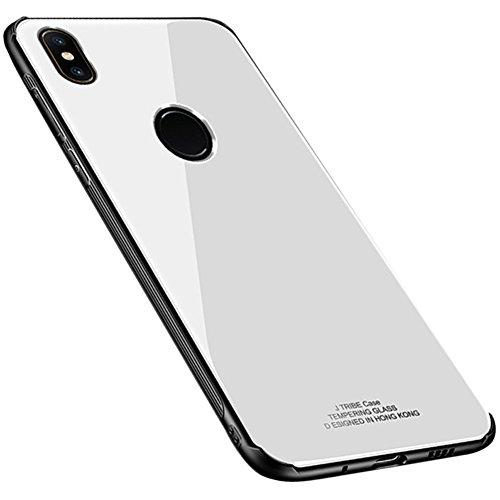 Kepuch Quartz Hülle für Xiaomi Mi Mix 2S - Weiches TPU + Rückseite Aus Gehärtetem Glas Hüllen Hülle für Xiaomi Mi Mix 2S - Weiß
