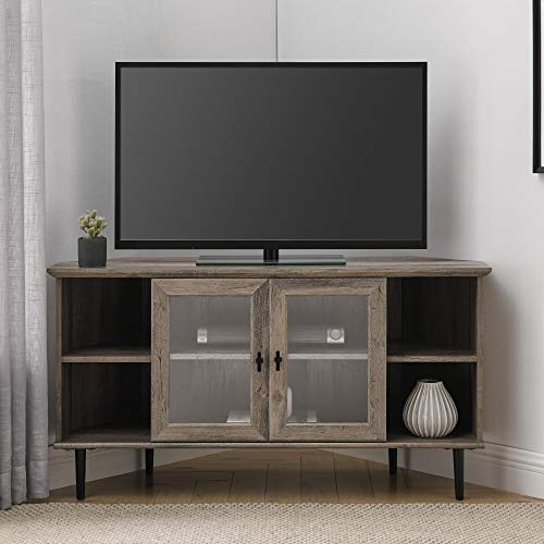 Walker Edison Modern Wood Corner Universal Stand with Open Shelves Glass Cabinet Doors TV's up to 55' Flat Screen Living Room Storage Entertainment Center, 48 Inch, Grey Wash