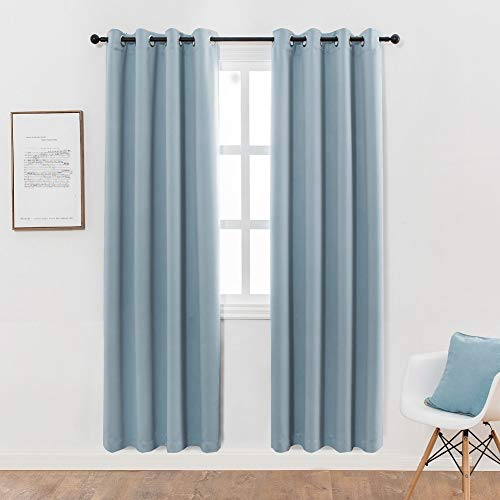 MANGATA CASA Bedroom Blackout Curtains Grommet 2 Panels,Thermal Window Curtain Panel for Living Room Darkening Drapes(Light-Blue 52x63Inch)