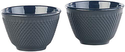 Rosenstein & Söhne Teetassen: 2er-Set asiatische Teebecher aus Gusseisen und Emaille, schwarz (Teeschale)