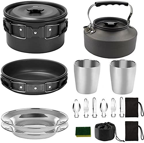 SIQI - Juego de 16 utensilios de cocina para acampar con juego de estufa de camping...
