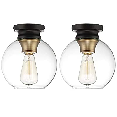 Globe Electric Lighting Single Set of 2,Artisan Bronze Flush Mount Light Fixture with Clear Glass Shade,Pendant Light for Hallways Entryways Room Hotels and Shops,E26 Socket
