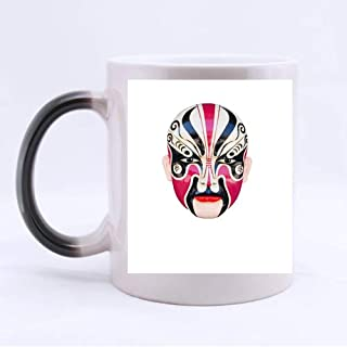 COLORSFORU Traditional Chinese Opera Mask Isolated On Custom Morphing Mug Coffee Tea Water Beverage Cup Heat-activation Color Changing Ceramic Mug