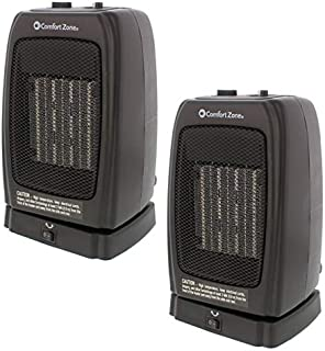 Comfort Zone CZ448 Oscillating Portable Ceramic Space Heater with 2 Heat Settings and Fan-Only Function (2-Pack)