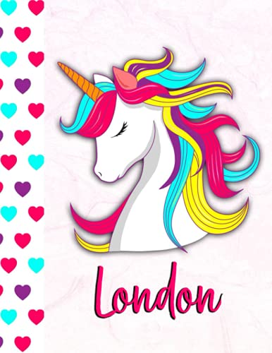 London: Personalized Unicorn Sketchbook For Girls With Pink Name - 8.5x 11 110 Pages- doodle ,sketch the perfect gift for birthday , Thanksgiving, or Christmas