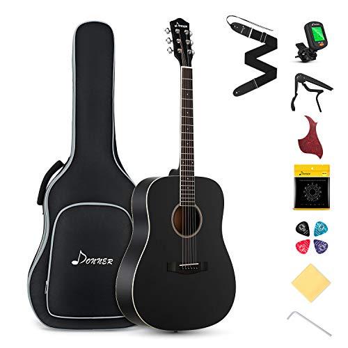Donner Guitarra Acústica 4/4 de Adulto Guitarra Acústica Kit 41 Pulgadas Dreadnought de Principiante con Cuerde Afinador Cejilla Negra