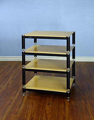 "VTI BL404SO - 4 Shelf Audio Rack TV Stand up to 27"" TVs with Black Frame, Silver Cap/Spikes and Oak Shelf."