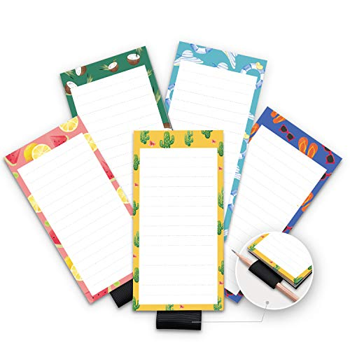 6. 5 Pack Magnetic Notepads for Fridge with Pen Holder