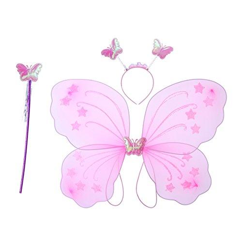 Luoem Costume da farfalla composto da 3 pezzi, da bambina, da festa, con ali, cerchietto e bacchetta magica da fata (Rosa)