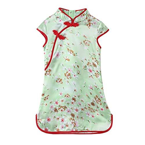 Aini Vestido De Bebé NiñAs Vestido De NiñA Cheongsam Vestido Estampado Estilo Chino para NiñA Vestido Manga Corta Floral De Verano Elegante Boda Fiesta Bautizo Disfraz De Princesa 3 AñOsa 12 AñOs