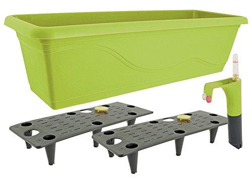 Blumenkasten Pflanzenkasten mit Wasserspeicher Wasserstandanzeiger 60 cm (Apfelgrün)