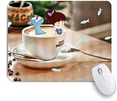 Benutzerdefiniertes Büro Mauspad,Fantasie Kaffeetasse kleines Mädchen Meerjungfrau Schwanz in Porzellan Tasse moderne Haus Schreibtisch kreative Kunst Design,Anti-slip Rubber Base Gaming Mouse Pad Mat