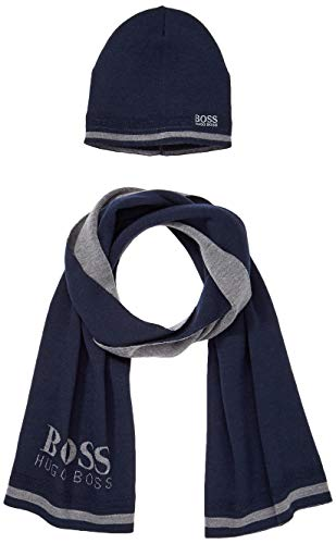 BOSS Herren Gift Ainy_1 Mütze, Schal & Handschuh-Set, Blau (Navy 410), One Size (Herstellergröße: ONESI)