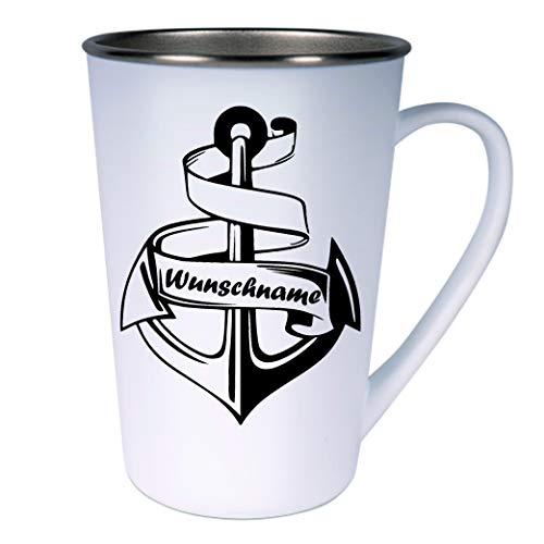 Crealuxe Konische roestvrijstalen koffiemok anker met gewenste naam - koffiepot of beker met motief, bedrukte latte of cappuccinokopje,