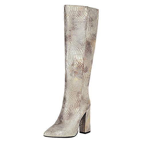 ELEEMEE Mujer Moda Botas Plisadas Alto Tacón Ancho Pull on High Stiefel Pointu Fiesta Zapatos Animal Print...