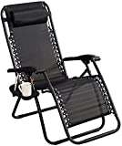 Patio Lounge Chairs Recliner Multifunctional Recliner Black Gravity Recliner with Padded Cushion Headrest for Outdoor Use Camping Garden Outdoor Patio Sun Loungers,Can Withstand 150kg