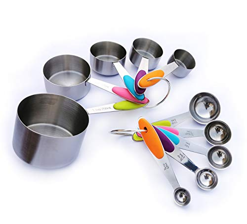 10 Piece Set Measuring Cups Spoons for Accurate Allocating Dry and Liquid Ingredients, Cooking Baking Measuring Tools, Stainless Steel Measuring Cups Spoons Set (Silver)