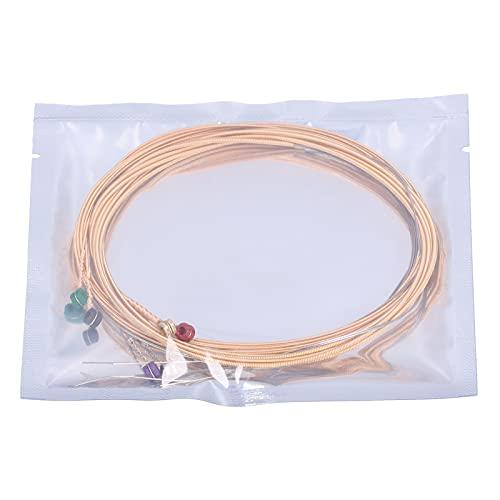 Eujgoov 10 juegos de cuerdas de guitarra acústica Cuerdas de guitarra folklórica de 6 cuerdas con núcleo de acero y cuentas de color hacen que el sonido sea claro y transparente, adecuado para