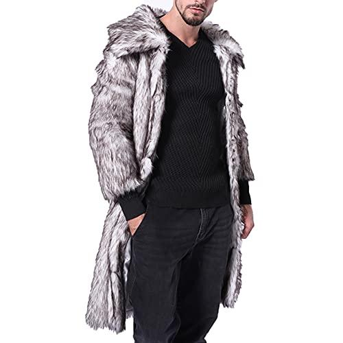 UEsent Abrigo de invierno para hombre, de pelo sintético, abrigo de piel sintética, grueso de terciopelo, cálido, de un solo color, solapa de forro polar, gris, M