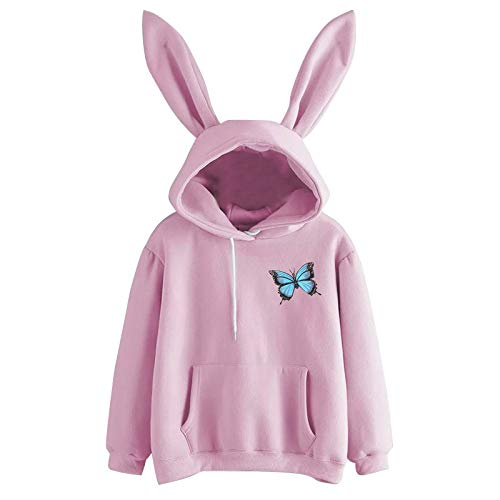 Top de manga larga para mujer, con capucha, sudadera con capucha, camiseta estampada para mujer, ideal como regalo de Pascua, San Patricio (rosa-L)