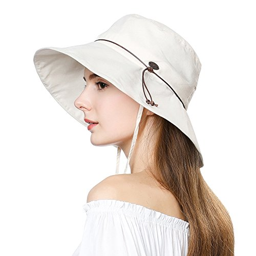 Womens Packable Ponytail Hole Spf50 Linen/Cotton Summer Sun Hat Bucket String Safari Beige 55-58cm