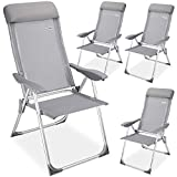 Casaria Set de 4X sillas de jardín de Aluminio Gris 60x109 cm Plegables Resistentes Respaldo Ajustable 5 Niveles