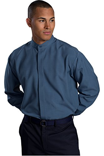 Ed Garment Men's Long Sleeve Banded Collar Shirt, RIVIERA BLUE, Large