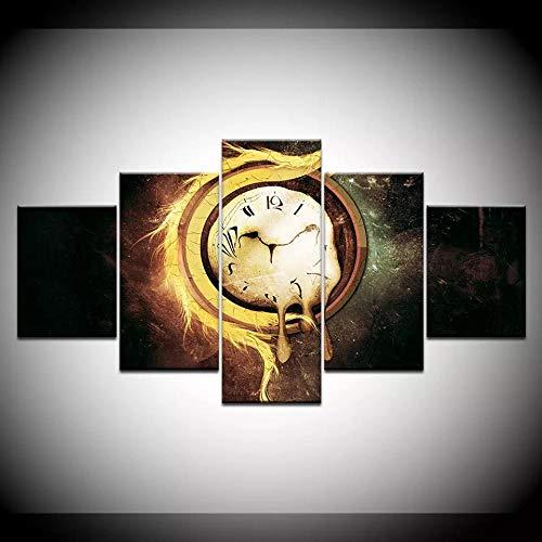 SESHA Póster De Lienzo 5 Piezas HD Arte De La Pared Impresa Decoración Dormitorio El Hogar Pintura De La Lona Foto El Reloj De Fusión Reloj Retro