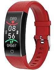 Macabolo Fitnesstracker met lichaamstemperatuurmeting, hartslagfrequentie, bloeddrukmeter, zuurstofmonitor, waterdicht, smartwatch armband voor oefening, sport en activiteit