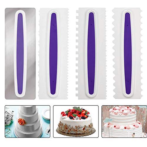 OFNMY 4pcs Raspador para Tartas de Pasteles para Decoración de Bordes, Herramienta de Bricolaje, Espátulas de Crema y Azúcar