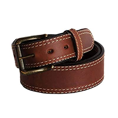 "R.G. BULLCO - USA Made - 1-3/4"" to 1-1/2"" Full Grain Belt with Oil Tanned Solid Thick Leather and Double Stitch Edge Trim - Tan - Size 38 - RGB-124"