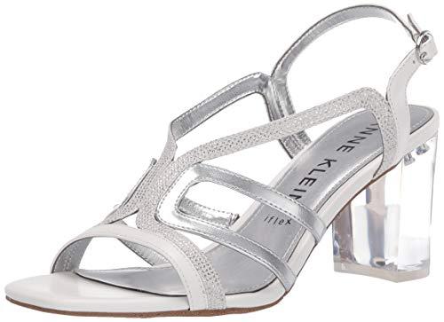 Anne Klein womens Heeled Sandal Pump, White/Silver, 6 US