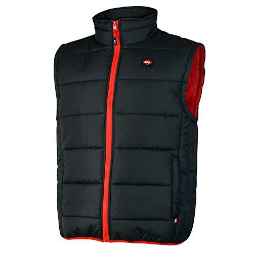 Lee Cooper LCVST706 Workwear Mens sicurezza sul lavoro leggero imbottito Vest Gilet Gilet Con cuciture a contrasto, nero, di grandi dimensioni
