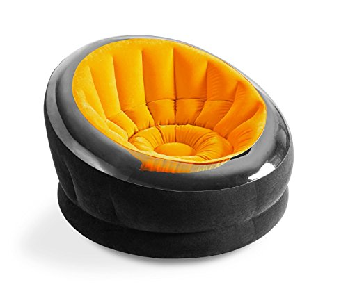 Media Wave Store, 68582NP, relaxstoel, opblaasbaar, Intex stof, waterdicht, 112 x 109 x 69 cm, oranje