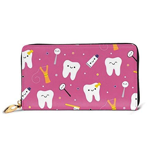 Zahnarzt-Geldbörse für Männer und Frauen, lang, Leder, Scheckbuch, Kartenhalter, Geldbörse, Reißverschluss, elegante Clutch, Damen, Münzbörse