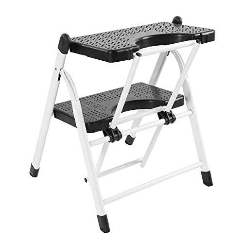 NEVY-Step ladder staal eenvoudige vouwen stap ladder Kruk 2 - Stap Heavy Duty vouwen ladderbank met anti-slip geribbelde stappen