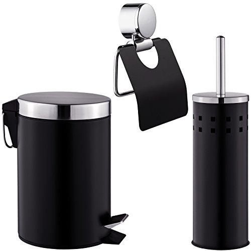tectake Exclusives 3 teiliges Badset Toilettenrollenhalter + Klobürste + Eimer